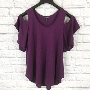 Express NWT Cold Shoulder Purple Flowy T-shirt Med